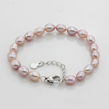 YYW Real Natural Freshwater Pearl Bracelet Women Rice White Pink Purple Real Cultured Pearl Bracelets Wedding Birthday Gifts