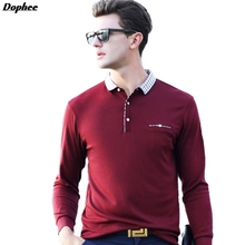 Dophee 2017spring New Men's Long-sleeved Shirt POLO Explosion Models Lapel Middle-aged Men's  Solid Color Casual POLO Shirt