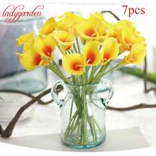 7PCS Silk Calla Lily Artificial Flowers Mini Wedding Bridal Bouquet Flower for Wedding Decoration Home Office Table Decoration