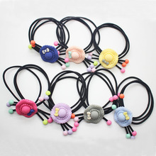 Wholesale kids elastic hair bands cute hat hair accessories girls women ponytail holders fashionable hair scrunchies