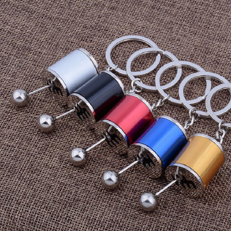 Auto Six-speed Manual Transmission Shift Lever Keychain Keyring Key Chain Ring