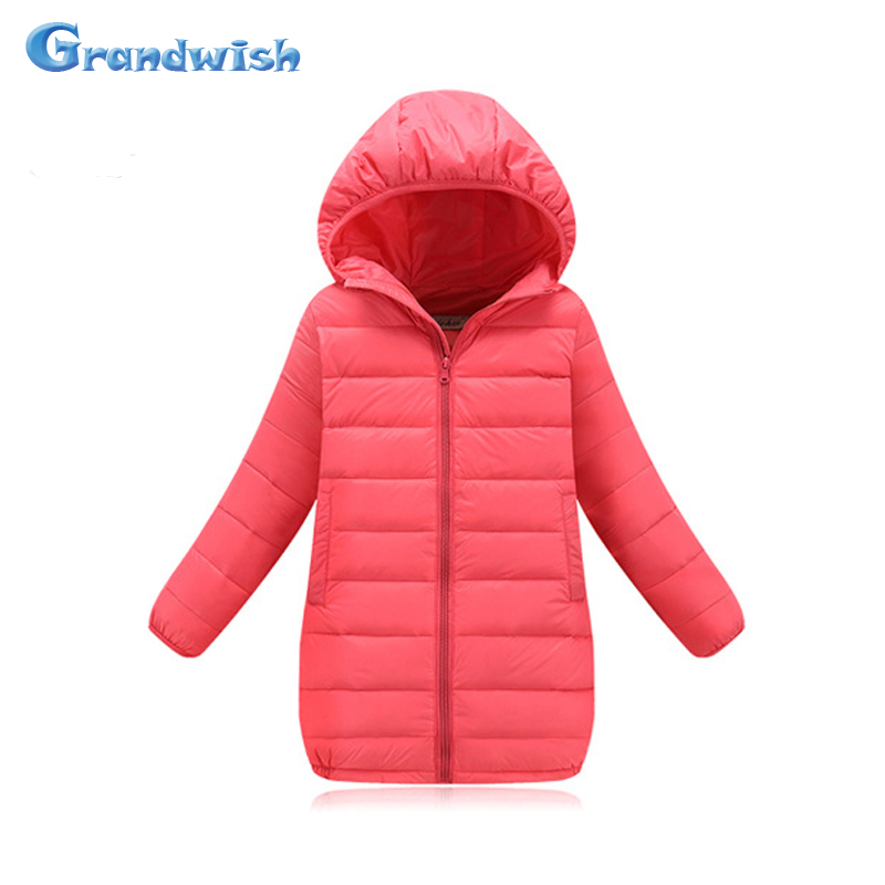 Grandwish New Boys and Girls Solid Hooded Long Jacket Kids Windproof Down Jackets Kids Parkas Coat Outerwear 4T-12T, SC293Одежда и ак�е��уары<br><br><br>Aliexpress