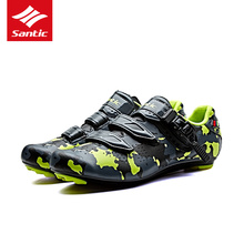Santic Men Pro Road Cycling Shoes PU Breathable Road Bike Shoes Auto-locking Athletic Racing Bicycle Shoes Sneakers 3 Color 2017(China)