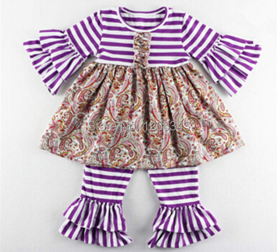 Spring Baby Clothes Purple White Striped Ruffle Girls Boutique Clothing Ruffle Top Pants Set for Kids Clothing set  3sets/lot<br><br>Aliexpress
