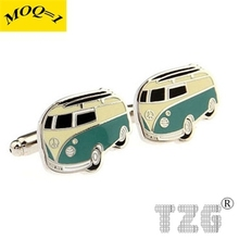 Beige Green Bus Cufflink Cuff Link 1 Pair Free Shipping Promotion