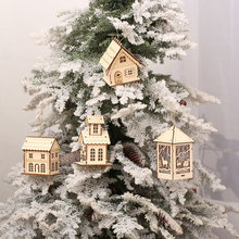 Christmas Tree Decorations Mini LED Wooden House Interior Hanging Ornaments Xmas Tree Pendants Party Supplies Holiday Decor(China)