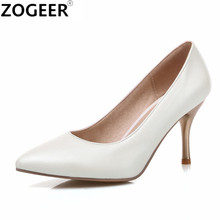 High Heel Woman Pumps Plus Size 34-46 New 2017 Sexy Party Wedding Shoes Thin Heel Pointed Toe Women's Office Shoes white pink