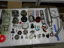 Scooter Big Bore Kit 100cc 50mm Bore QMB139 GY6 Scooter Performance Parts Kit Silver Muffler