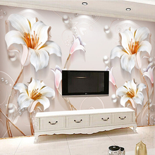 Photo Wallpaper Custom European Style 3D Stereo Relief Lily Flowers Mural Living Room TV Sofa Backdrop Wall Home Decor Wallpaper