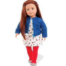 Our Generation Original Factory Clothing Set Blue Jacket Chiffon Bow Tie Dress Red Leggings And Shoes American Girl Doll Clothes(China)
