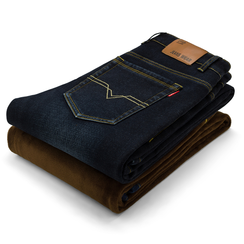 Mens Winter plus velvet warm  jeans male feet stretch Jeans Одежда и ак�е��уары<br><br><br>Aliexpress