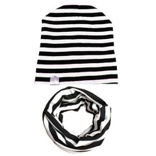 2PCS/sets Baby Cap Scarf Kids Girls Boys Winter Cotton Hats Knitted Striped Spring Hat Scarf