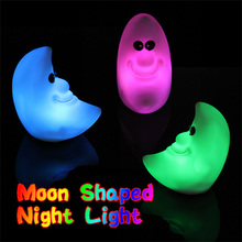 Novelty Moon Shaped Colorful Lamp Changing Color LED Energy Night Light Random Color