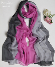 100 Silk scarf long Cape Light Rose Fashion h Silk Scarves dress accessory shawls large gradient color summer sunscreen pashmina