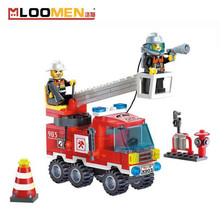 130pcs Small Fire Rescue Truck Building Blocks DIY Fireman Construction Bricks Brand Toys For Children Birthday Gift