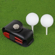 Mini Portable Leather Clip On Golf Ball Holder Pouch Bag Hold 2 Balls Golfer Aid Tool Gift Black