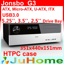 Retail box, free gift 12cm fan, HTPC case ATX, USB3.0, 3.5'' HDD, ATX power supply, Jonsbo G3, other V2, V3+, V4, U1, U2, V6