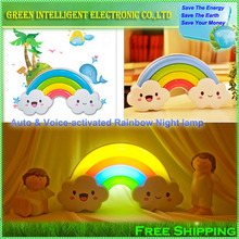 LED Rainbow Colorful Wall Sticker Night Light Baby Bedside Lamp Children's gift Voice&Light Control Decorative Lights home decor