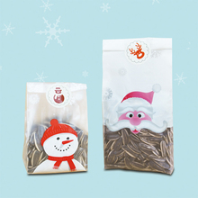 50pcs Santa Claus Candy Bags Snow Man Gift Bag Cookie Biscuits Bag Foods Packaging Sealing Stickers Birthday Xmas Party Supplies