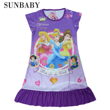 Hot pajamas Summer Nightgowns Dora Sophia Princess Girl print Cartoon nightdress for girls sleepwear polyester kids clothing CX