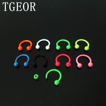 free shipping wholesale 1.2*8*3mm horseshoe body piercing 100pcs surgical Stainless Steel NEON colors CBR EYEBROW ring(China)