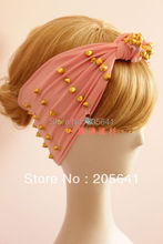 Unique Design Gold Rivet Pink Color Punk Rivet Headbands Custom Made Hand Made Personality Studs Hairbands Star Rivet Bandanas(China)