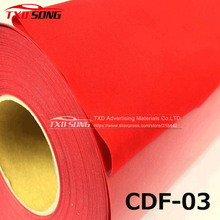 Hot Selling material CDF-03 flock heat transfer film Flock Vinyl for Transfer with size:50X100CM per lot Red color