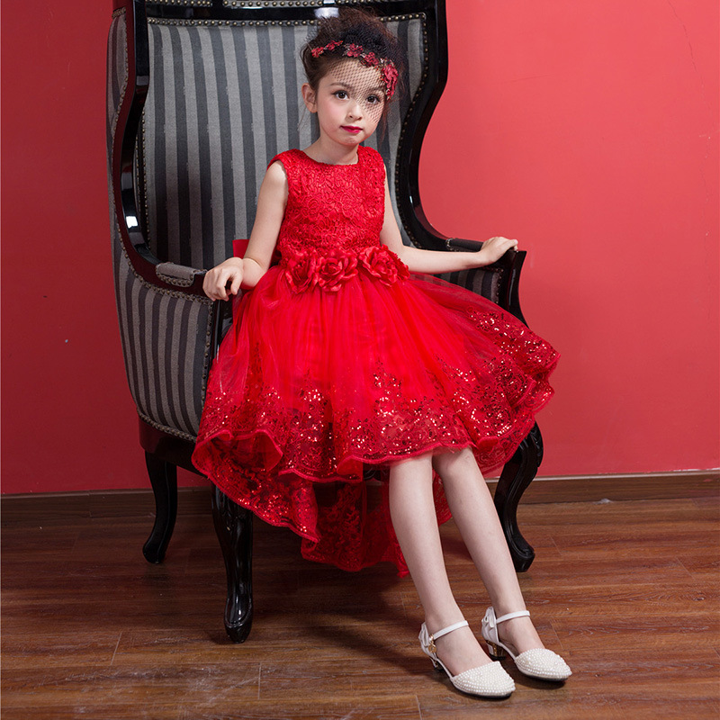 Summer Fashion TuTu Princess Wedding Dress Baby Girl Clothes For Kids Dress Mesh Bow Party Formal Clothing Red 10 Age Children <br>