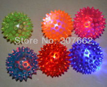 Free shipping 12pcs/lot 5.5cm rubber light up bouncy ball Elastic Spike LED Flash Light Massage Ball Fun Games Party Favor Gift