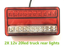 1 Pair Waterproof 20led Taillights Red white Rear Tail Light DC 12V For Trailer Truck Van Car Styling Warning Light
