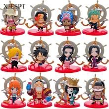 XIESPT 12pcs/set One Piece Action Figure Toys Cute Mini Figures model Collection One Piece family portrait Free Shipping