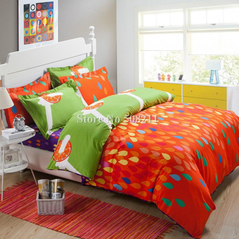 Wholesaleorange Blue Fruit Modern Pattern Bedding Set  Cotton Quilt Duvet Comforter Covers