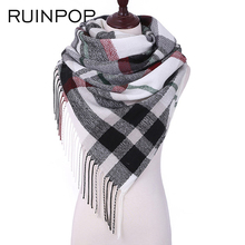 RUINPOP Top Sales Winter Scarf For Women Girls Shawls Women Scarf Scarves Plaid Tassel Shawls lady Warm Winter Scarf Ladies(China)