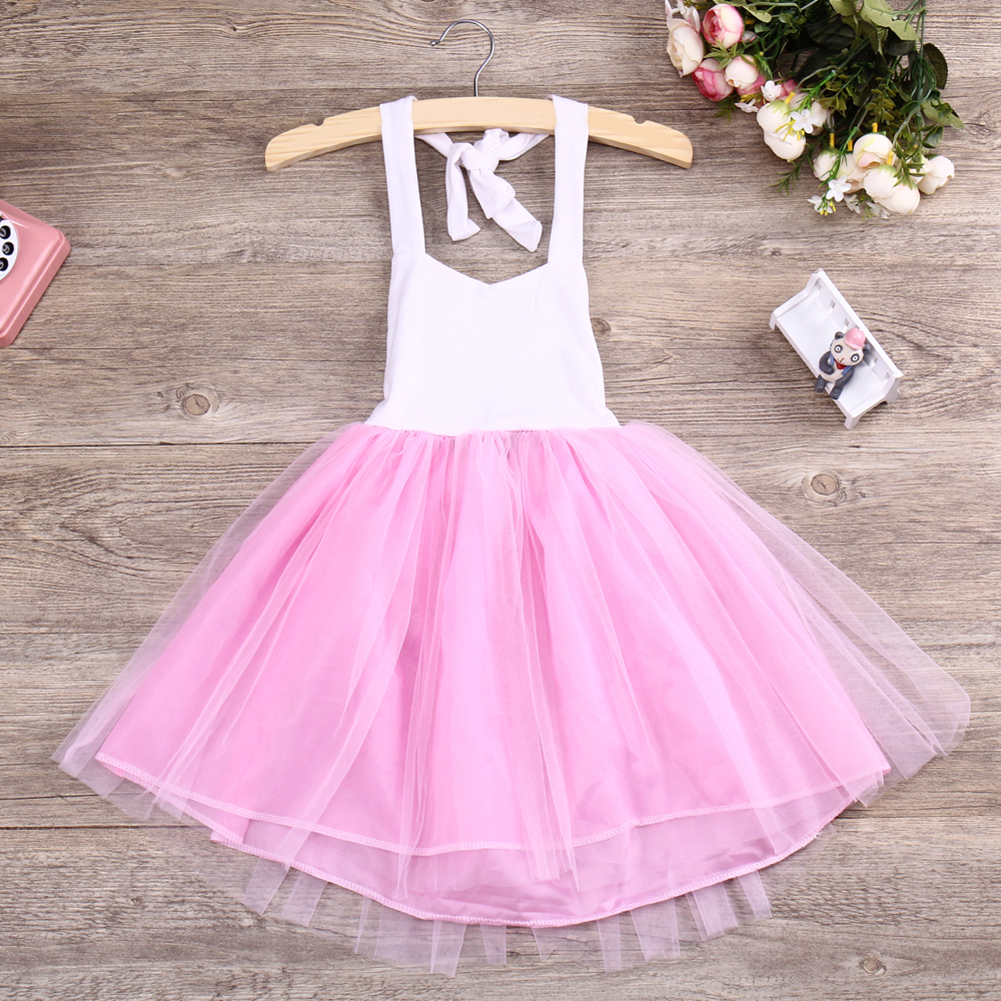 Fashion New Baby Girls Pink Summer Dress Kids Girls Princess Party Mesh Lace Tulle Halt Gown Formal Wedding Dresses 1Y-6Y Girls 9
