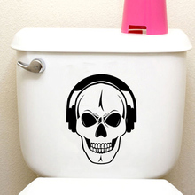 Skull Headphones Music Home Decor Wall Decal Toilet Sticker Vinyl 6WS0213