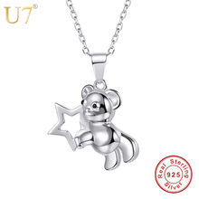 U7 100% 925 Sterling Silver Animal Charm Necklace Cute Bear Carrying Star Pendant & Rolo Chain Silver Jewelry Gift Women SC20(China)