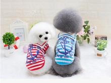 5pc/lot spring summer Pet anchor stripe TShirt Vest Dog Clothes Puppy Cat Apparel Clothing Cachorro For Teddy Chihuahua F153(China)