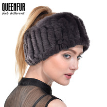 QUEENFUR Real Knit Rex Rabbit Fur Scarf Fashion Women Genuine Rabbit Fur Headwrap Ear Warmer 2017 New Winter Fur Ring Hairband(China)