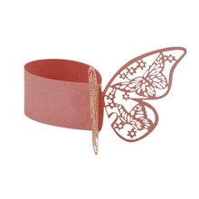 50pcs Butterfly Style Laser Cut Paper Napkin Ring Wedding Table Decoration (Pink)
