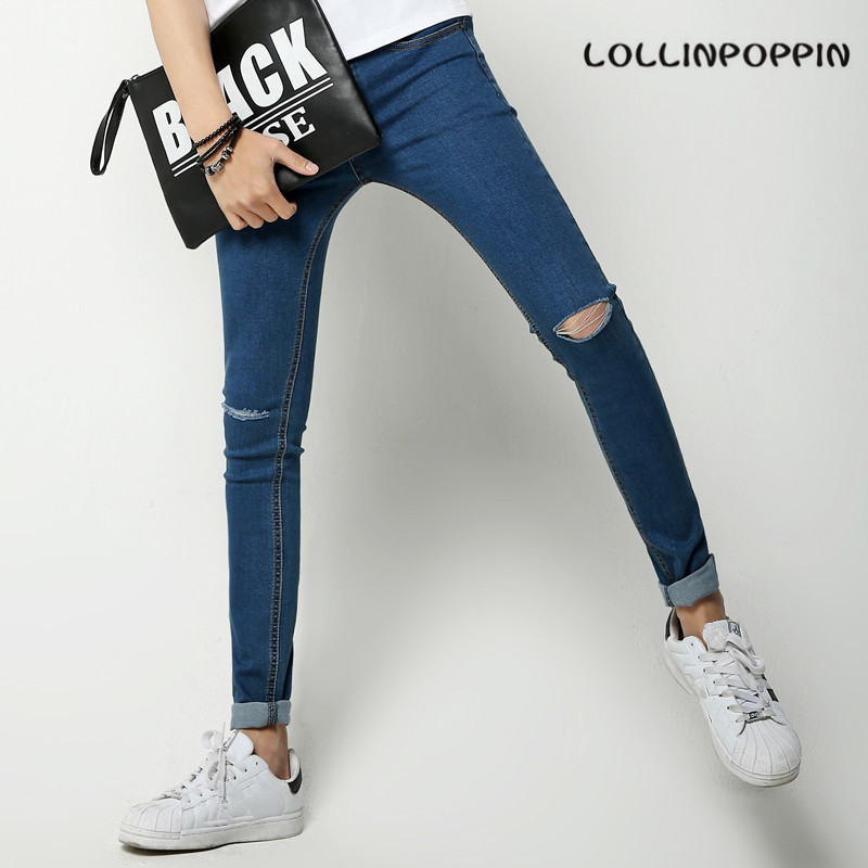 Knee Ripped Mens Skinny Jeans Slim Fit New 2017 Korean Fashion Distressed Denim Pants Black / Blue / WhiteÎäåæäà è àêñåññóàðû<br><br>