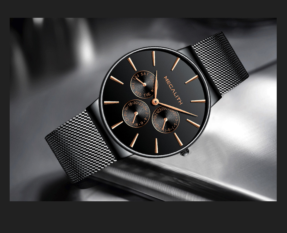 MEGALITH Mens Watches Top Brand Luxury Waterproof Wrist Watches Ultra Thin Date Simple Casual Quartz Watch For Men Sports Clock 15
