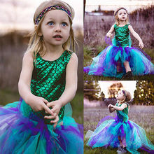 Princess Kid Baby Girl Dress Mermaid Bodysuit+Hademade 2pcs Outfits Set kids dresses for girls 2017 Fashion Latest