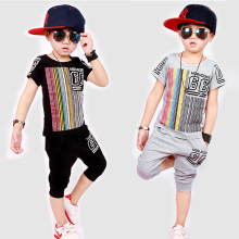 2017 Children Kids Boys Summer Clothes Sets Boy rainbow T-Shirt + Shorts Sport Suit Baby Clothes 3-9 years old children clothes