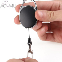 AOMU 1 Pc Black Keychain Badge Reel Retractable Recoil Ring Card Holder Pull Key Ring Steel Cord 65cm