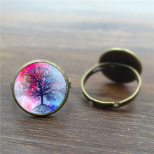Glass Cabochon Life Tree Art picture Vintage Rings for Women Antique Bronze Accessories Wholesale Rings