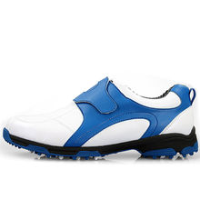 New Golf Men's Shoe Golf Club Shoes Anti Slide Waterproof Breathable (White Blue)