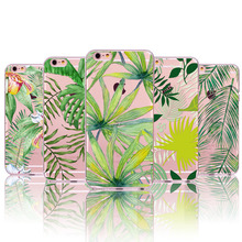 Fashion Palm Tree Leaves TPU Slim For iphone 6 7 6s 6plus 5 5s SE Spring Summer Floral Slim Silicone TPU Back cases Shell