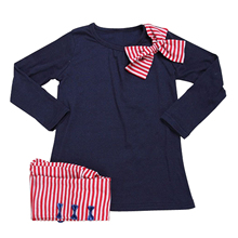 Girls clothes sets Dark Blue Bow Tops+ Stripe Pants 2pcs clothing children active suits cotton kids wear 2T(100CM)