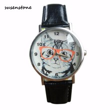 Susenstone Women Fashion Casual Cute Cat Wrist Watch Leather Band Quartz-Watch Ladies Female Dress Quartz Watch Relogio Feminino
