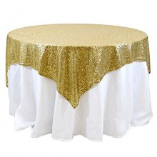 72inch Square Gold Sequin Tablecloth Table Overlay Linens for Wedding/Christmas Sparkly Meaningful Party Decoration